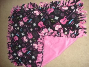 Pink Rock N Roll Fleece Blanket by CraftsForMoms