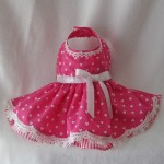 Pink Heart Dog Valentine Spring Dress with Venise Lace Trim